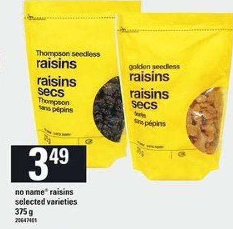No Name Raisins - 375 G