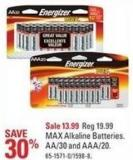 Energizer Max Alkaline Batteries Aa/30 and Aaa/20