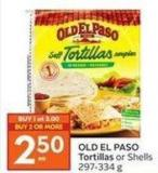 Old El Paso Tortillas or Shells 297-334 g