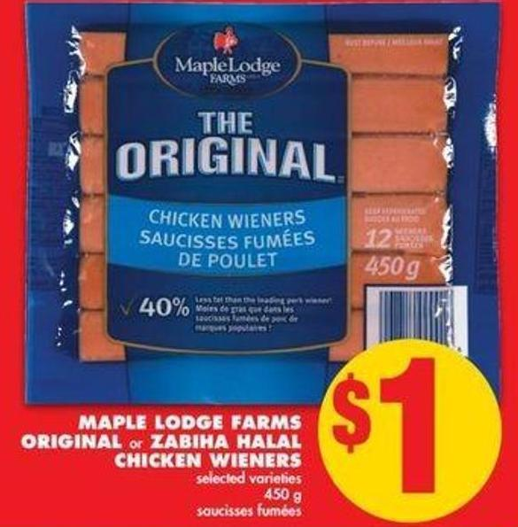 Maple Lodge Farms Originalor Zabiha Halal Chicken Wieners - 450 g