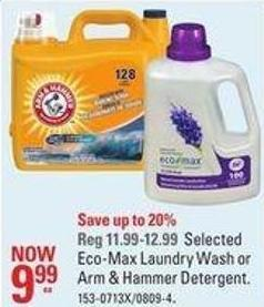 Selected Eco-max Laundry Wash or Arm & Hammer Detergent.