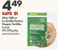 Silver Hills or  La Tortilla Factory  Organic Tortillas  6 Pack  216-255g Pkg