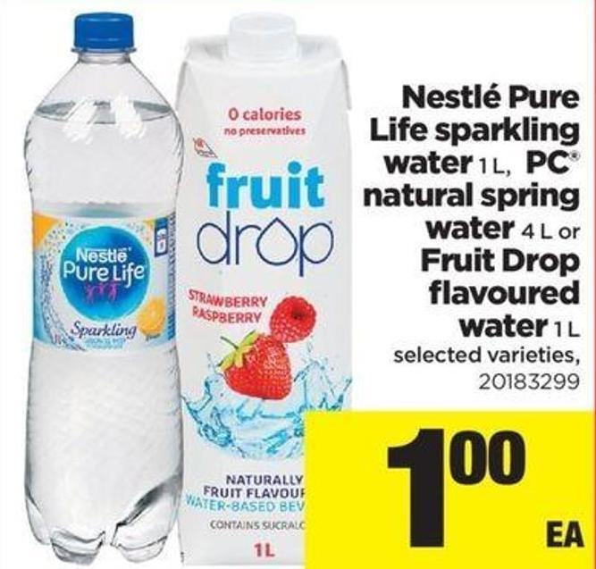 Nestlé Pure Life Sparkling Water .1 L - PC Natural Spring Water - 4 L Or Fruit Drop Flavoured Water - 1 L
