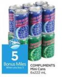 Compliments Mini Cans - 5 Air Miles Bonus Miles