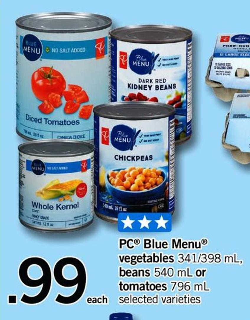 PC Blue Menu Vegetables 341/398 mL - Beans 540 mL Or Tomatoes 796 mL