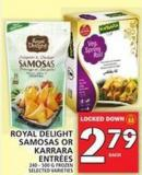 Royal Delight Samosas Or Karrara Entrées