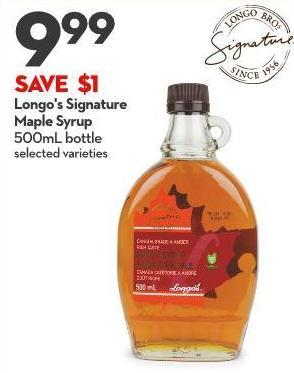 Longo's Signature  Maple Syrup 500ml Bottle
