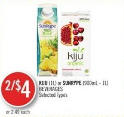 Kiju (1l) or Sunrype (900ml - 1l) Beverages