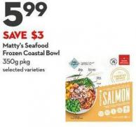 Matty's Seafood Frozen Coastal Bowl 350g Pkg