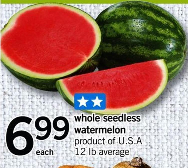 Whole Seedless Watermelon - 12 Lb Average