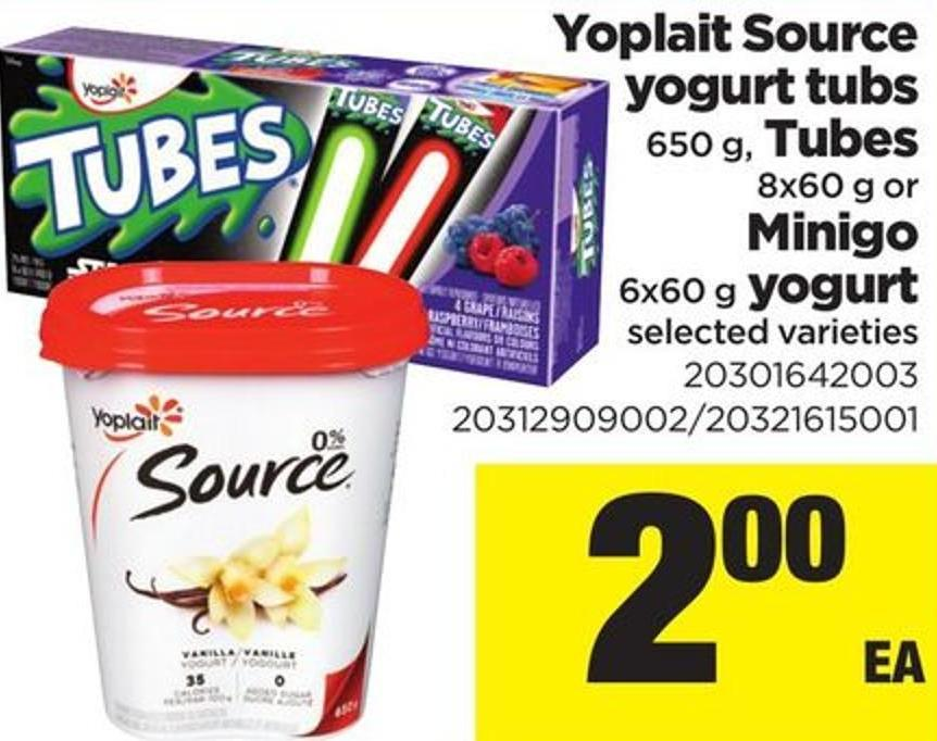 Yoplait Source Yogurt Tubs - 650 G - Tubes - 8x60 G Or Minigo - 6x60 G Yogurt