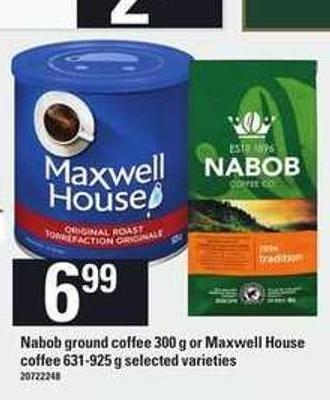Nabob Ground Coffee - 300 G Or Maxwell House Coffee - 631-925 G