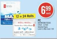 PC Bathroom Tissue 9 Roll - 12 Roll