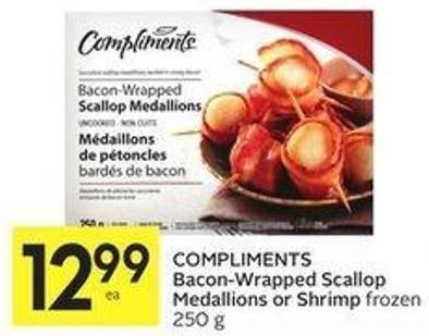 Compliments Bacon-wrapped Scallop Medallions or Shrimp Frozen 250 g