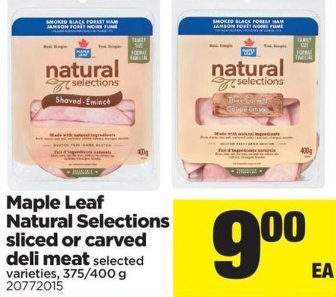 Maple Leaf Natural Selections Sliced Or Carved Deli Meat - 375/400 g