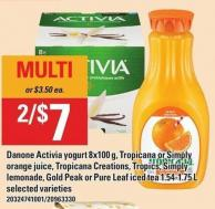 Danone Activia Yogurt 8x100 G - Tropicana Or Simply Orange Juice - Tropicana Creations - Tropics - Simply Lemonade - Gold Peak Or Pure Leaf Iced Tea 1.54-1.75 L