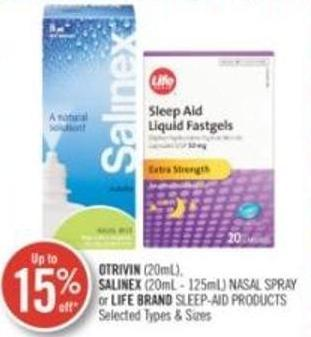 Otrivin (20 Ml) Nasal Spray or Life Brand Sleep-aid Products