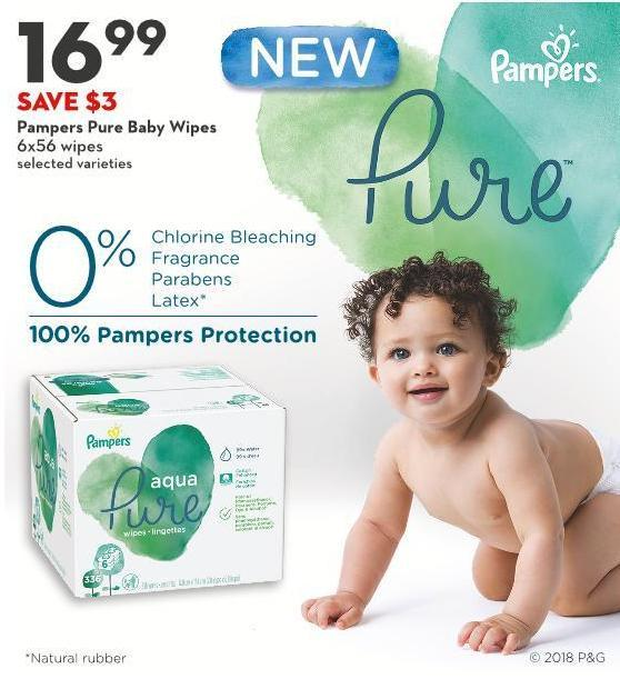 Pampers Pure Baby Wipes 6x56 Wipes