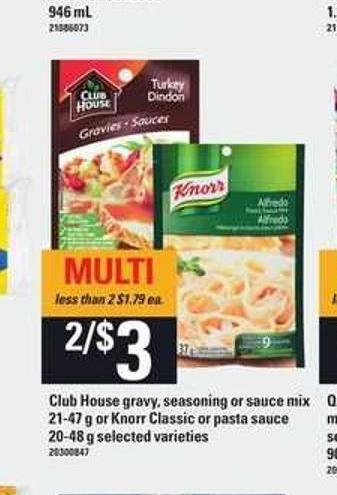 Club House Gravy - Seasoning Or Sauce Mix 21-47 G Or Knorr Classic Or Pasta Sauce - 20-48 G