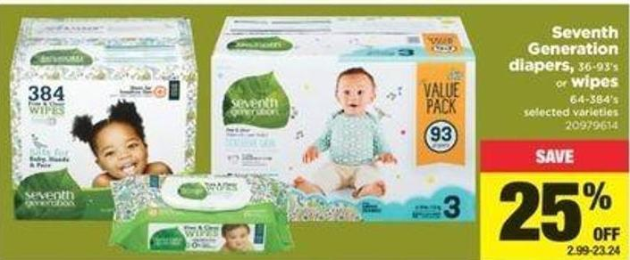 Seventh Generation Diapers - 36-93's Or Wipes - 64/384's