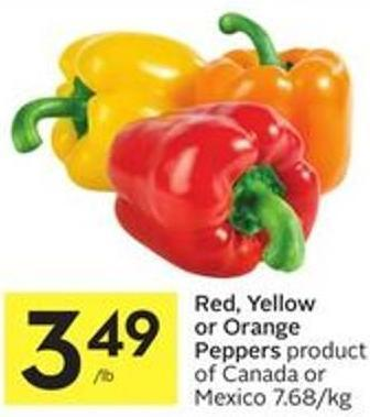 Red - Yellow or Orange Peppers Product of Canada or Mexico 7.68/kg