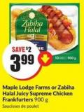 Maple Lodge Farms or Zabiha Halal Juicy Supreme Chicken Frankfurters 900 g