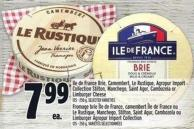 Ile De France Brie - Camembert - Le Rustique - Agropur Import Collection Stilton - Manchego - Saint Agur - Cambozola Or Limburger Cheese