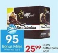 Kups Coffee Pods 72 Pk - 95 Air Miles Bonus Miles