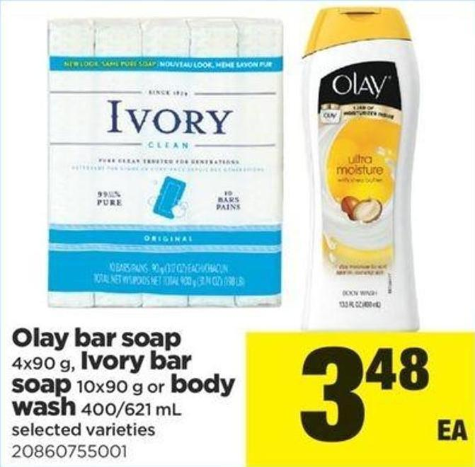 Olay Bar Soap - 4x90 G - Ivory Bar Soap - 10x90 G Or Body Wash - 400/621 Ml