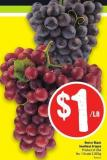 Red or Black Seedless Grapes Product of USA No. 1 Grade 2.20/kg