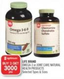 Life Brand Omega-3 or Joint Care Natural Health Products