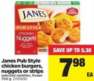 Janes Pub Style Chicken Burgers - Nuggets Or Strips - 700 g