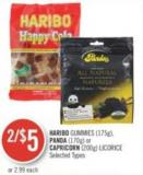 Haribo Gummies (175g) - Panda (170g) or Capricorn (200g) Licorice