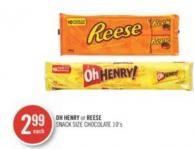 Oh Henry or Reese Snack Size Chocolate 10's