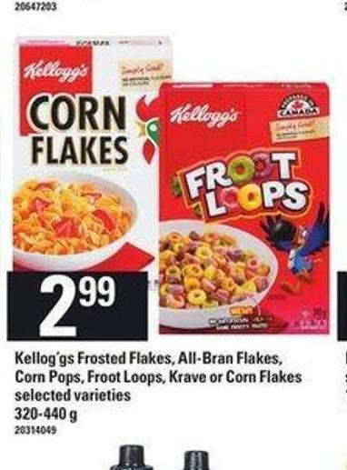 Kellog'gs Frosted Flakes - All-bran Flakes - Corn Pops - Froot Loops - Krave Or Corn Flakes - 320-440 g