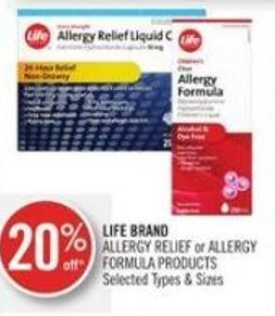 Life Brand Allergy Relief or Allergy Formula Products