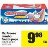 Mr. Freeze Jumbo Freeze Pops - 150 mL X 60 Ct