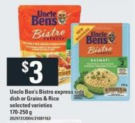 Uncle Ben's Bistro Express Side Dish Or Grains & Rice - 170-250 g