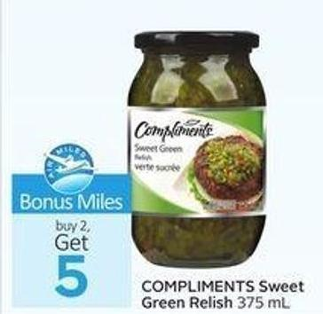 Compliments Sweet Green Relish -5 Air Miles Bonus Miles