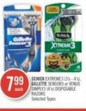 Schick Extreme3 (3's - 4's) - Gillette Sensor3 or Venus Simply3 (4's) Disposable Razors