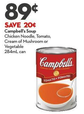Campbell's Soup Chicken Noodle - Tomato -  Cream of Mushroom or  Vegetable 284ml Can