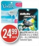 Gillette Mach3 (8's) - Fusion (4's) or Venus (4's - 8's) Cartridges