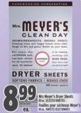 Mrs Meyer's Dryer Sheets 80 Un. -