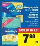 Always Pads - 18-58's - Liners 92-162's Or Tampax Tampons 32-54's