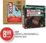 Clif Energy or Protein Bars 6's