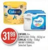 Enfamil A+ - Gentlease (550g - 663g) or Similac (638g - 658g) Infant Formula