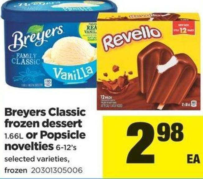 Breyers Classic Frozen Dessert 1.66l Or Popsicle Novelties 6-12's