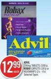 Advil 200mg Tablets (100's) Robax Caplets (18's) or Heatwrapes (3's - 4's)