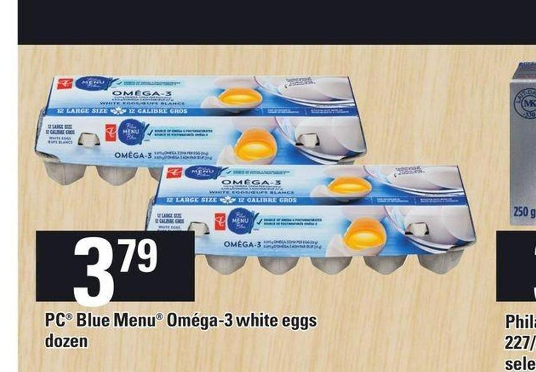 PC Blue Menu Oméga-3 White Eggs Dozen