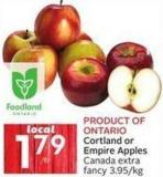 Cortland or Empire Apples Canada Extra Fancy 3.95/kg